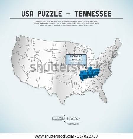 Usa Map Puzzle One State One Puzzle Piece Tennessee Nashville