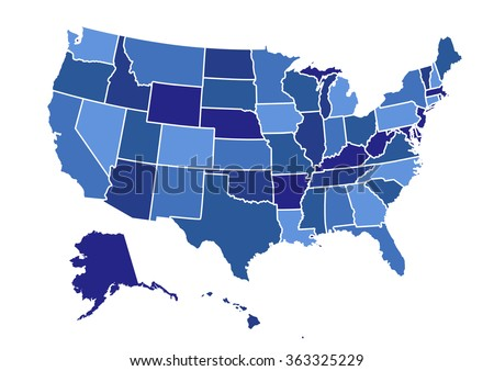 USA map vector illustration art on white background - stock vector