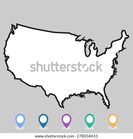 USA map vector, US MAP VECTOR, UNITED STATES OF AMERICA - stock vector