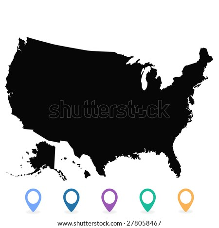 Usa map vector us map vector stock vector 278058467 shutterstock usa map vector us map vector united states of america sciox Images