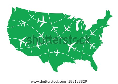 USA map with airplane routes - stock vector