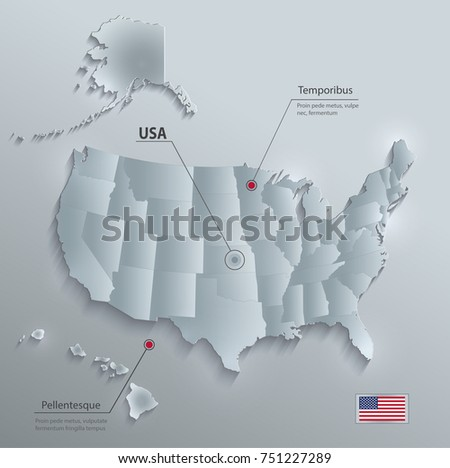 Usa Alaska Hawaii Map Separate Individual Stock Vector - Alaska map usa