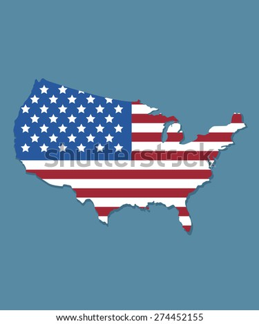 USA map with american  flag design - stock vector