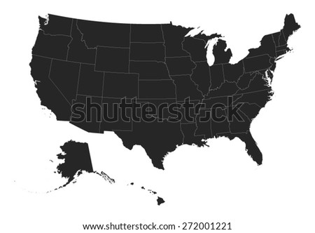 USA Map with Borders & States