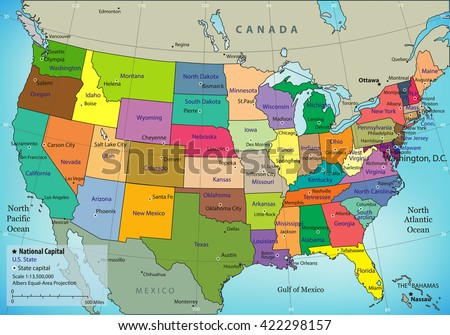 Usa Map Federal States All States Stock Vector - Usa mape