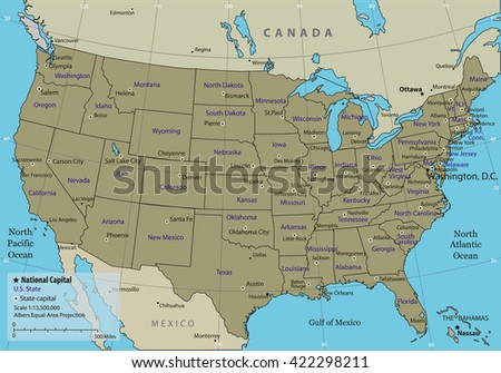 USA map with federal states. All states are selectable. Vector illustration - stock vector