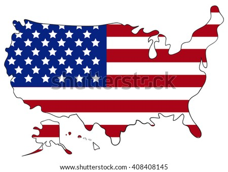 USA map with flag inside. Vector