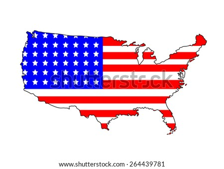 USA map with flag on a white background