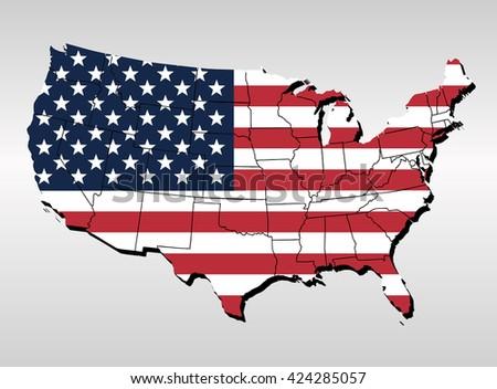 USA Map Flag United State America Stock Vector 424285057 - Shutterstock