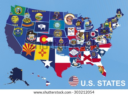 Usa Map Flags States On Blue Stock Vector Shutterstock - Usa map with hawaii and alaska