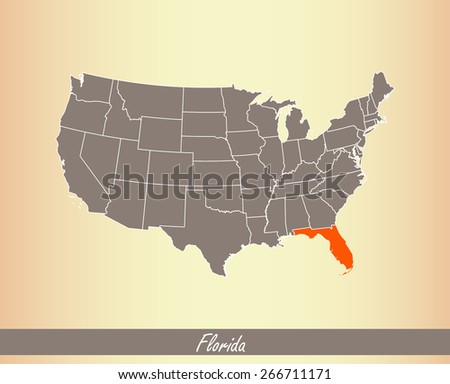 USA map with highlighted state of Florida, on an old paper background - stock vector
