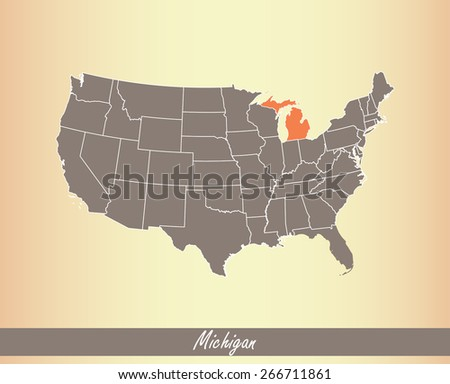 USA map with highlighted state of Michigan, on an old paper background - stock vector