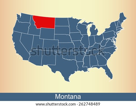 USA map with highlighted state of Montana, on an old paper background - stock vector