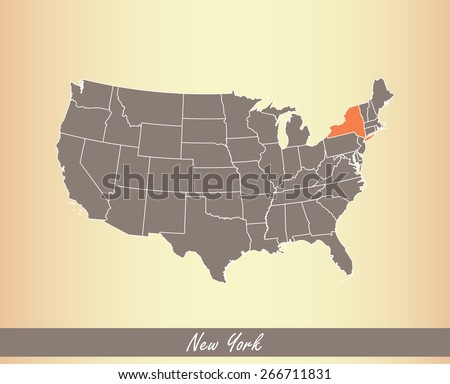 USA map with highlighted state of New York, on an old paper background - stock vector