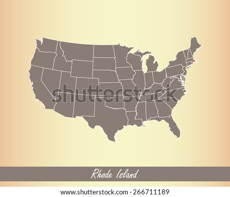 USA map with highlighted state of Rhode Island, on an old paper background - stock vector
