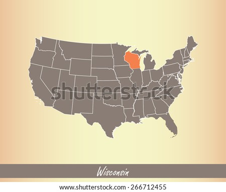 USA map with highlighted state of Wisconsin, on an old paper background - stock vector