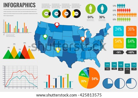 Usa Map With Infographics Elements Infographics Layouts Vector Ilration