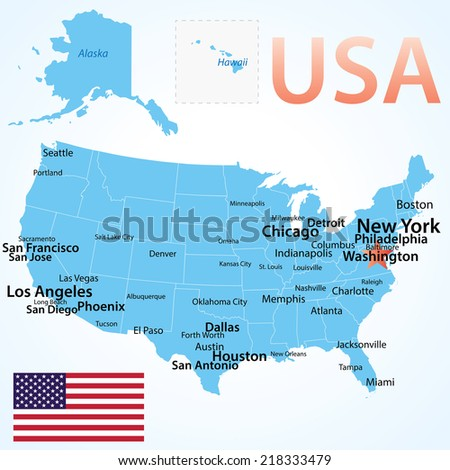 USA - map with largest cities, carefully scaled text by city population, geographically correct. - stock vector