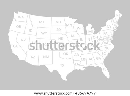 Usa Map Name Countriesunited States America Stock Vector - The united states of america map