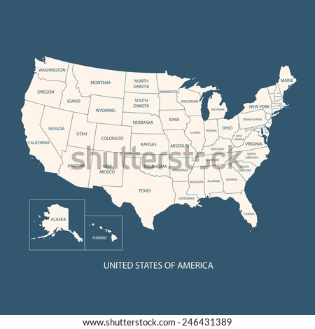 USA MAP WITH NAME OF COUNTRIES,UNITED STATES OF AMERICA MAP, US MAP flat illustration vector  - stock vector