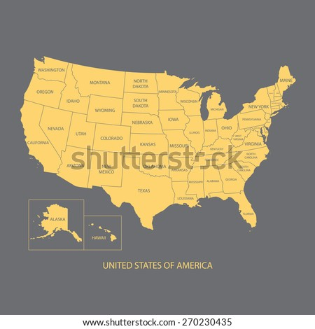 Usa Map Name Countriesunited States America Stock Vector - Flat us map