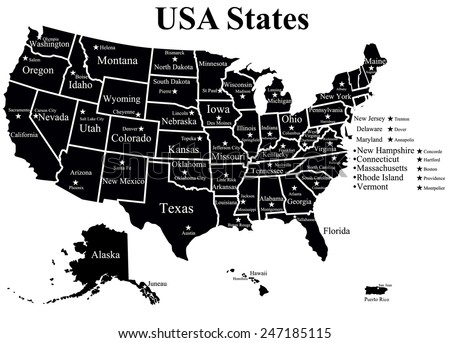 Poster Map United States America State Stock Vector - Usa map black