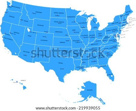 USA map with states and capital cities - stock vector