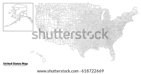 Poster Map United States America State Stock Vector - Black and white usa map