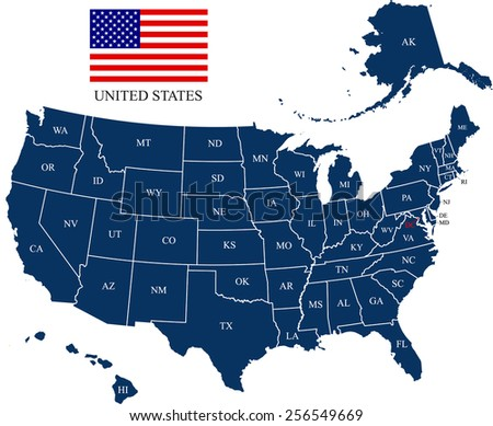 USA map with states and capital names and US flag - stock vector