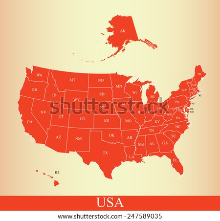 USA map with states names on an old paper background - stock vector