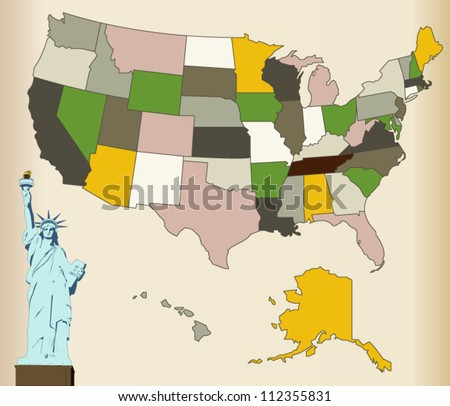 USA Map with Statue of liberty - stock vector