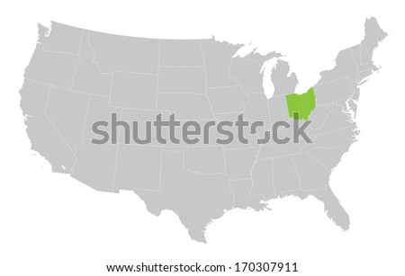 USA map with the indication of the State of Ohio - stock vector