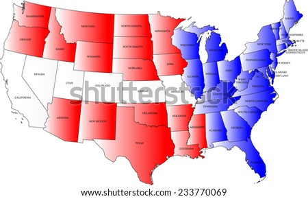 USA map with the states names and the color of the US flag - stock vector