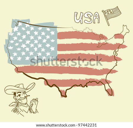 USA map with US flag - stock vector