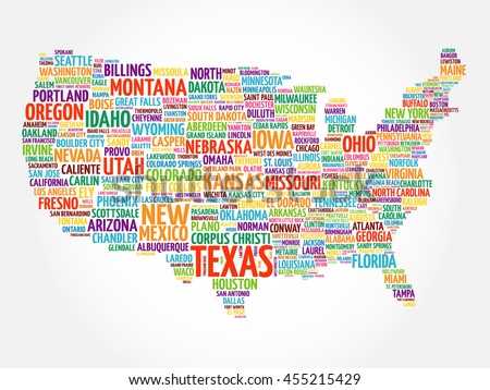 Set Infographic Usa Maps Word Stock Vector Shutterstock - Usa maos