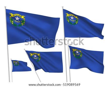Stock vector usa nevada vector flags a set of wavy d flags created