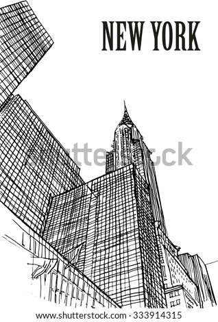 USA, New York skylines, Chrysler building. Hand drawn sketch - stock vector