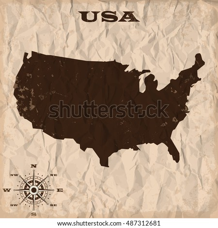 USA old map with grunge and crumpled paper. Vector illustration