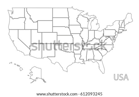 Editable Blank Vector Map United States Stock Vector - Us map white silhouette