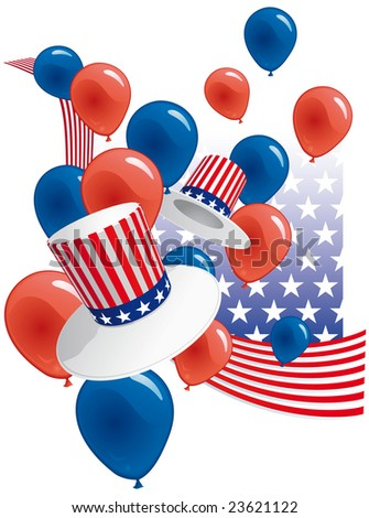 USA party with hats and balloons
