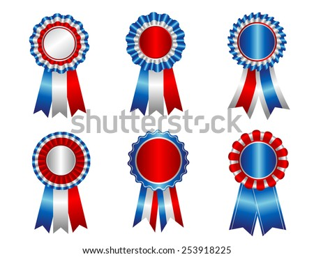 USA patriotic award ribbon rosettes clip art collection isolated on white - stock vector