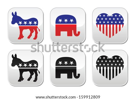 USA political parties button: democrats and repbublicans  - stock vector