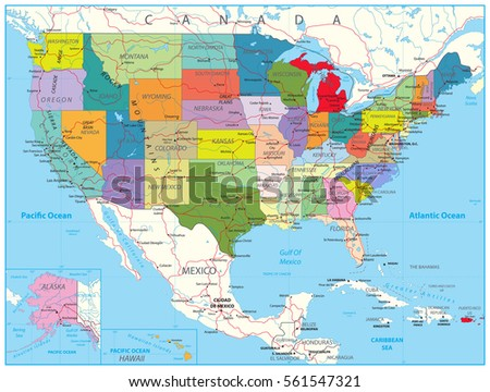 Retro Color Political Map Usa Water Stock Vector - Usa road map with states and cities