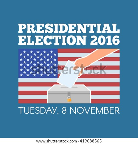 USA presidential election day concept vector illustration. Hand putting voting paper in the ballot box with american flag on background. Voting concept in flat style. - stock vector