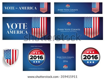 USA presidential election set 2016 vector banner - stock vector