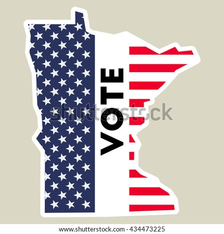 Usa Presidential Election 2016 Vote Sticker Minnesota State Map Outline With Us Flag Vote