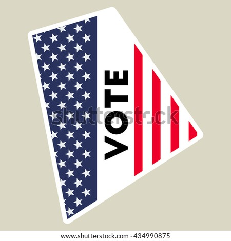 Usa Presidential Election 2016 Vote Sticker Rhode Island State Map Outline With Us Flag
