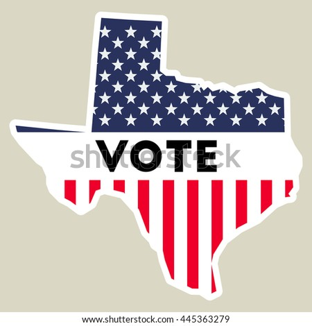USA presidential election 2016 vote sticker. Texas state map outline with US flag. Vote sticker vector illustration. - stock vector