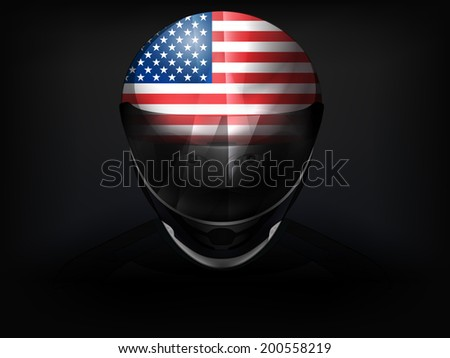 USA racer with flag on helmet vector closeup illustration - stock vector