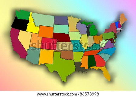 USA Rainbow Map ( EPS10 Vector) - stock vector